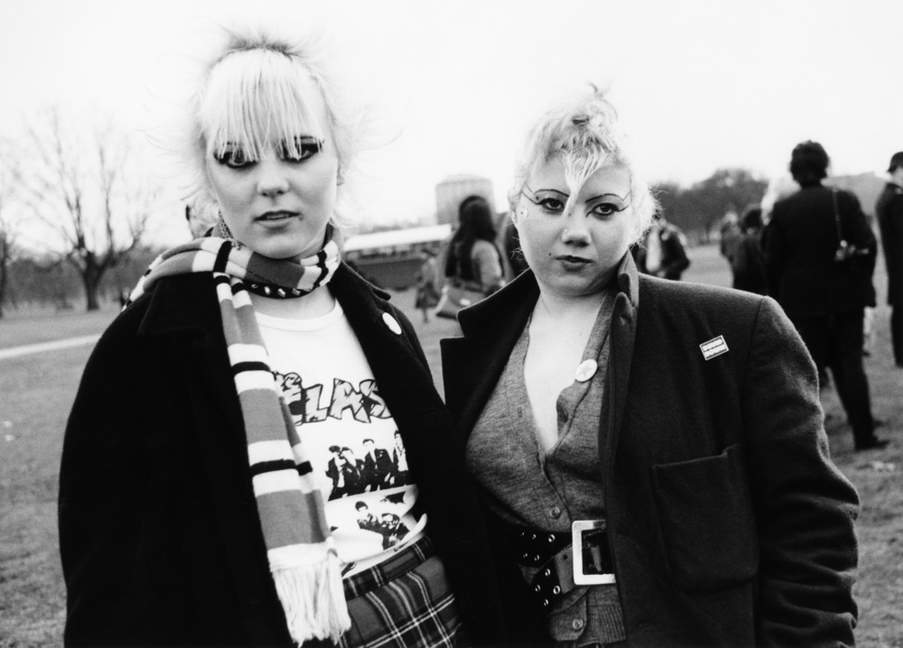 Two Punk girls, one wearing a Clash T-shirt, Hyde Park, London 1979 by Janette Beckman