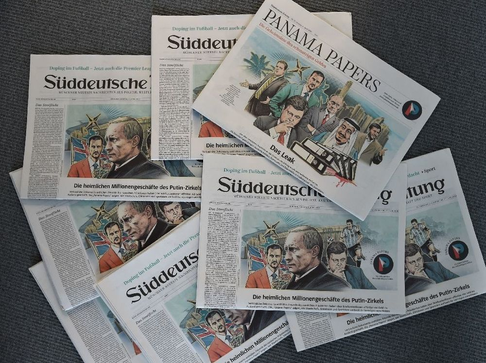 "Several issues of the newspaper dated April 4, 2016 about the ""Panama Papers"" are seen on April 7, 2016 in Munich, Germany. Photo by Christof Stache."