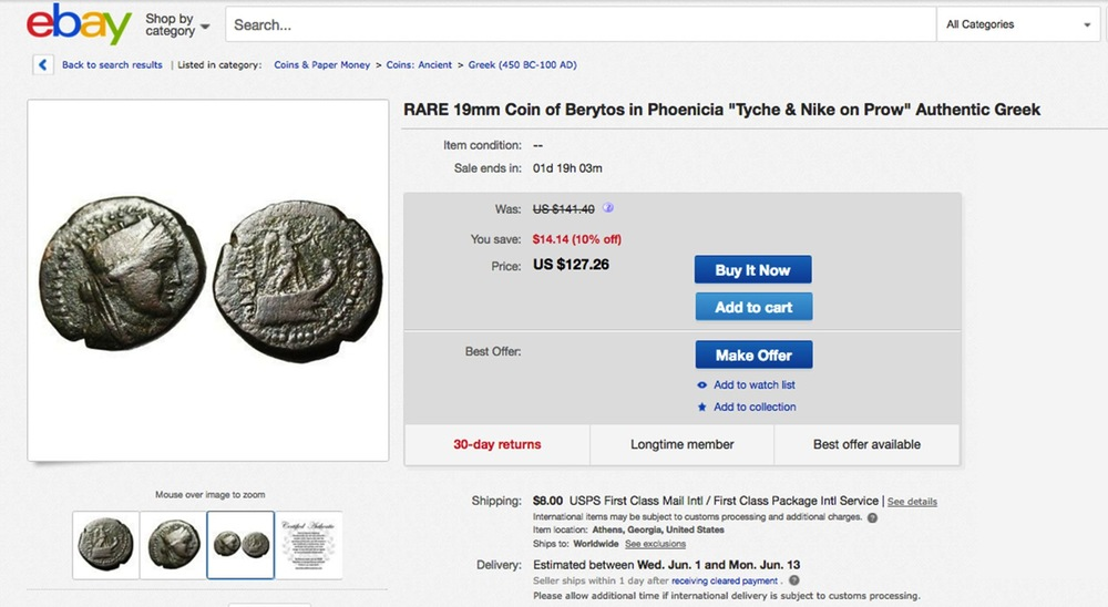 Historical artefacts believed to have been looted by ISIS, such as this coin of Berytos, clamming to be authentic, dating back to the time of Ancient Greece, appears on eBay.