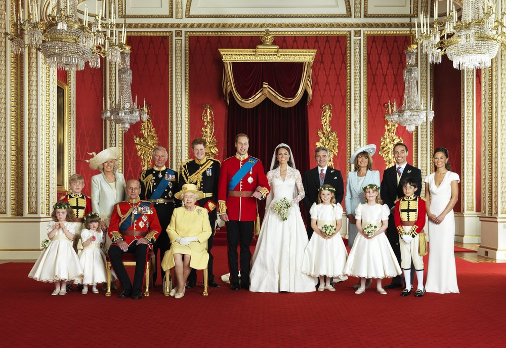 Wedding of Prince William and Catherine Middleton: Front Row left to right, Grace van Cutsem, Eliza Lopes, The Duke of Edinburgh, The Queen, Margarita Armstrong-Jones, Louise Windsor, William Lowther-Pinkerton. Back Row left to right, Tom Pettifer, Camilla, Charles, Prince Harry, Prince William and Kate, Michael Middleton, Carole Middleton, James Middleton and Philippa Middleton. Photo by Hugo Burnad/P ress Association,  29 April 2011.