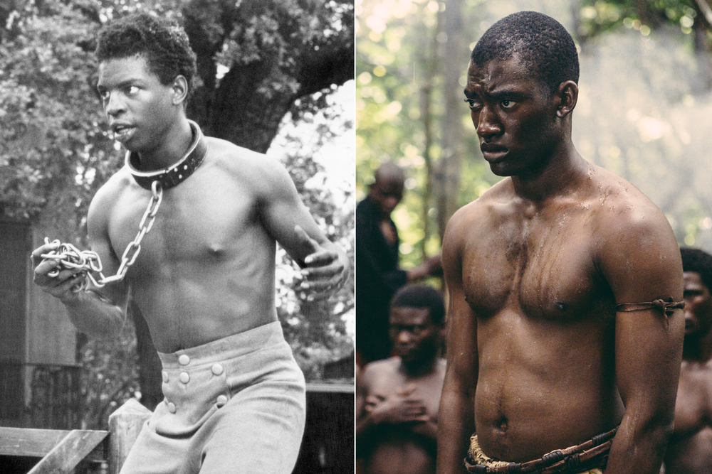 LeVar Burton (left) as Kunta Kinte in the 1977 version of  Roots , and Malachi Kirby (right) in the same role in the 2016 remake.