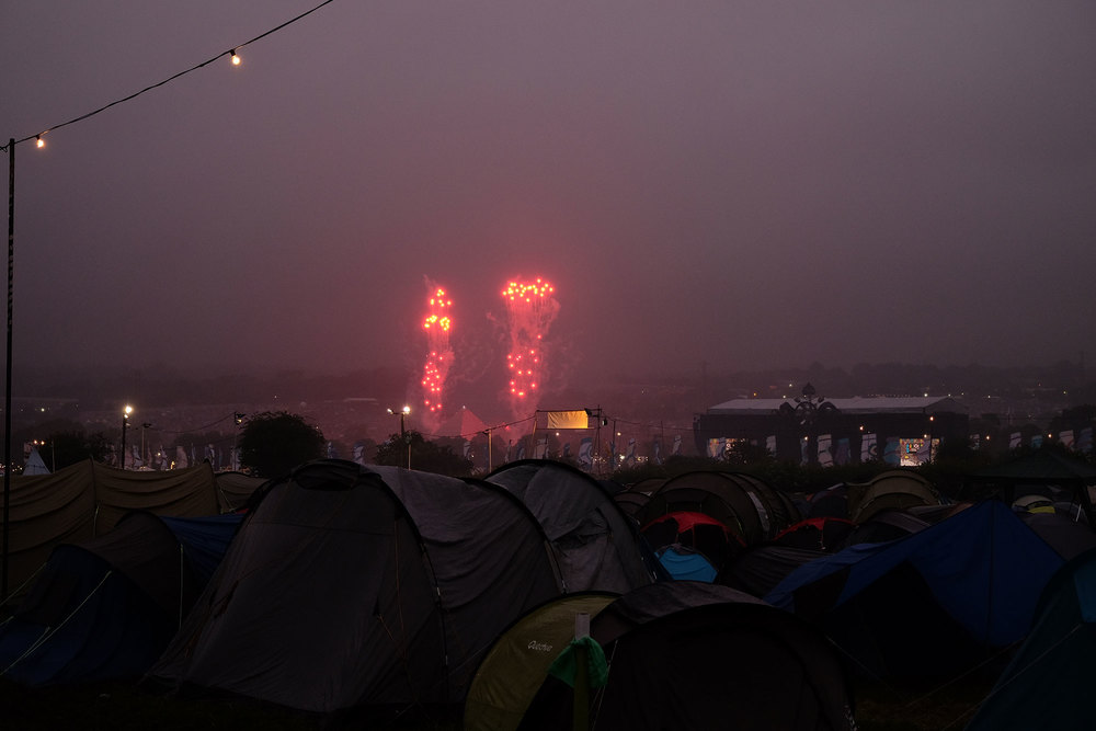 Fireworks seen from Glastonbury's camping site, 2016.
