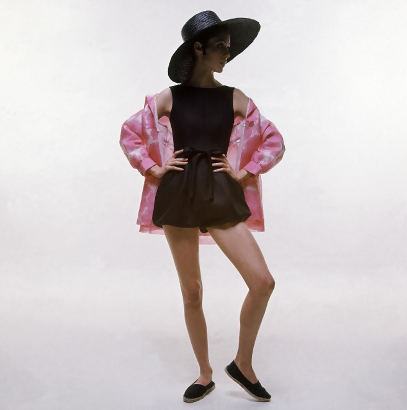 Hubert de Givenchy's ensemble, Photographed by Bert Stern, 1969.