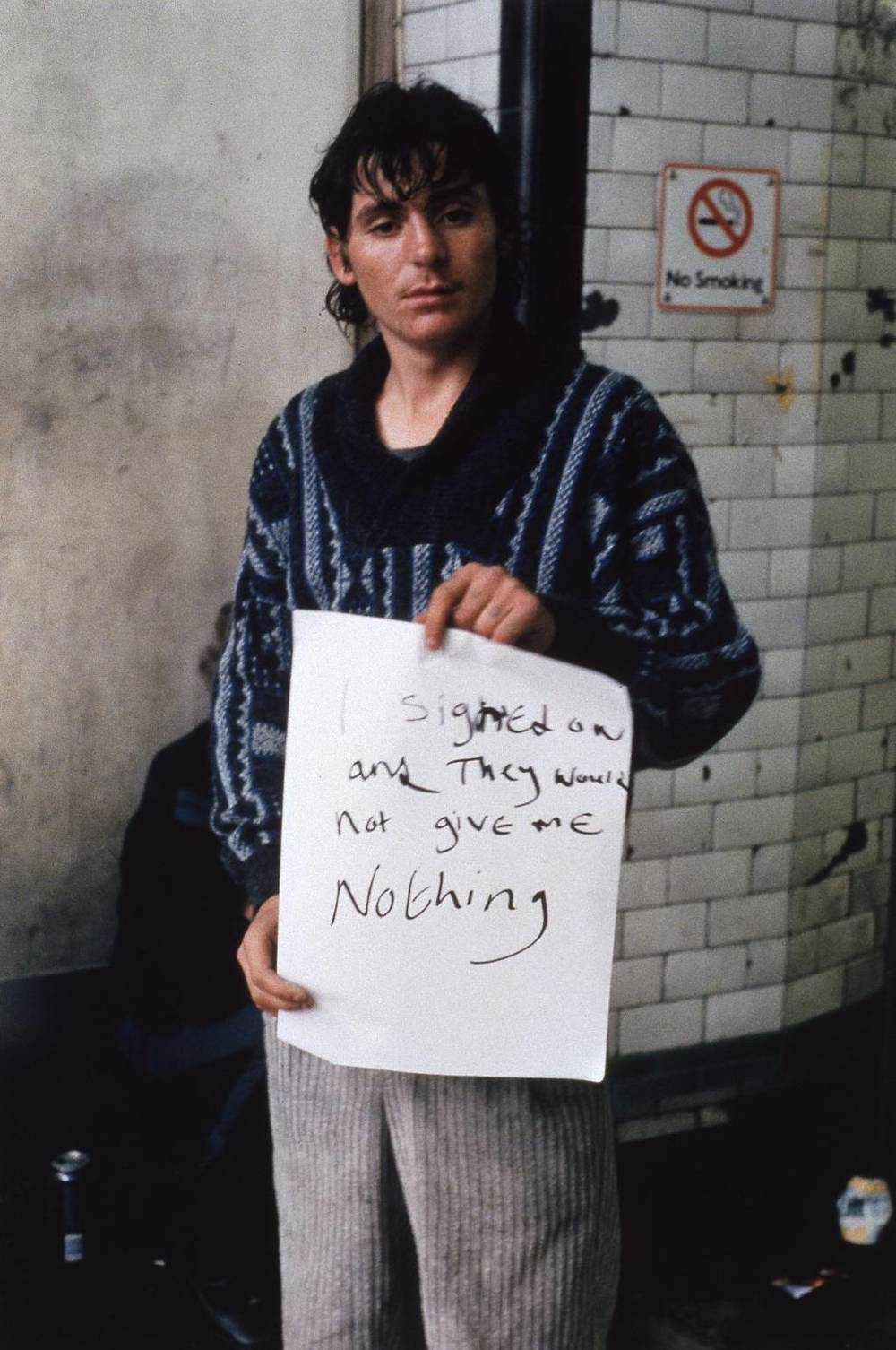 I Signed On And They Would Not Give Me Nothing , 1992 by Gillian Wearing.