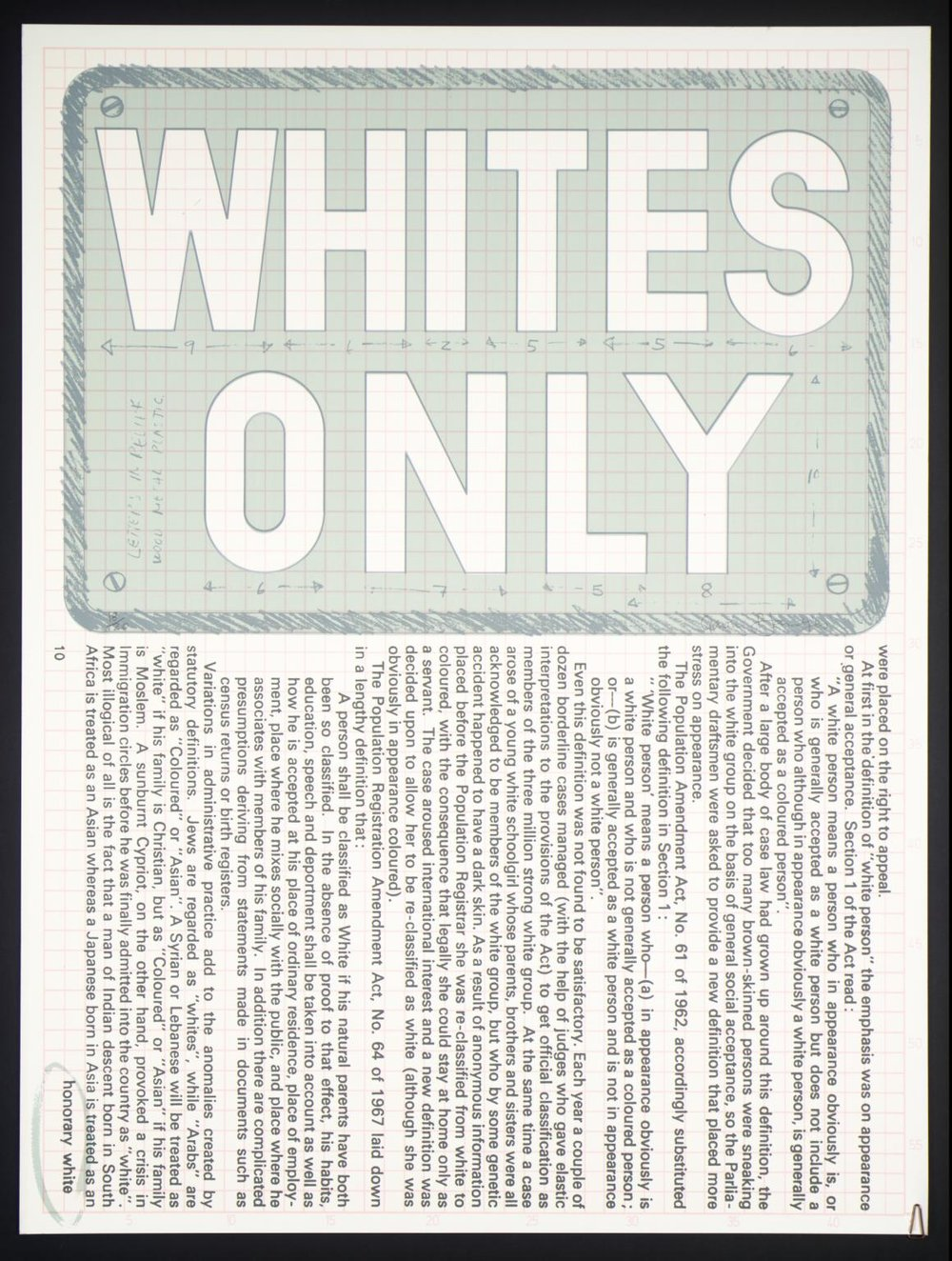 Whites Only , 1974 by Gavin Jantjes