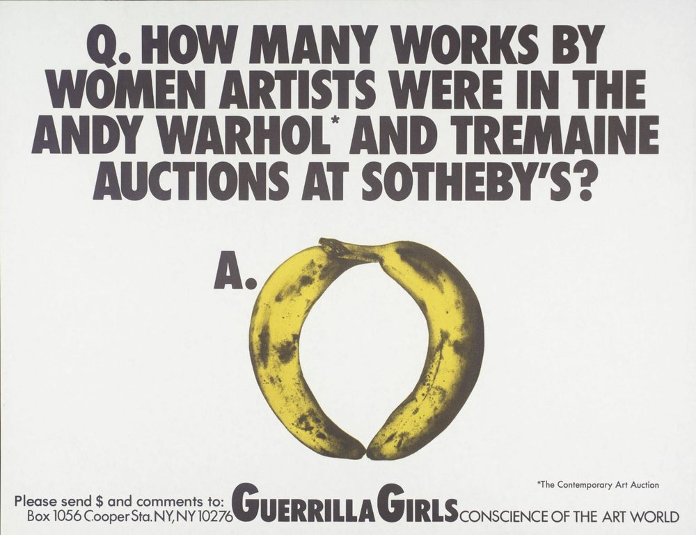 Women Artists In The Andy Warhol And Tremaine Auctions At Sotheby's , 1989 by Guerrilla Girls.