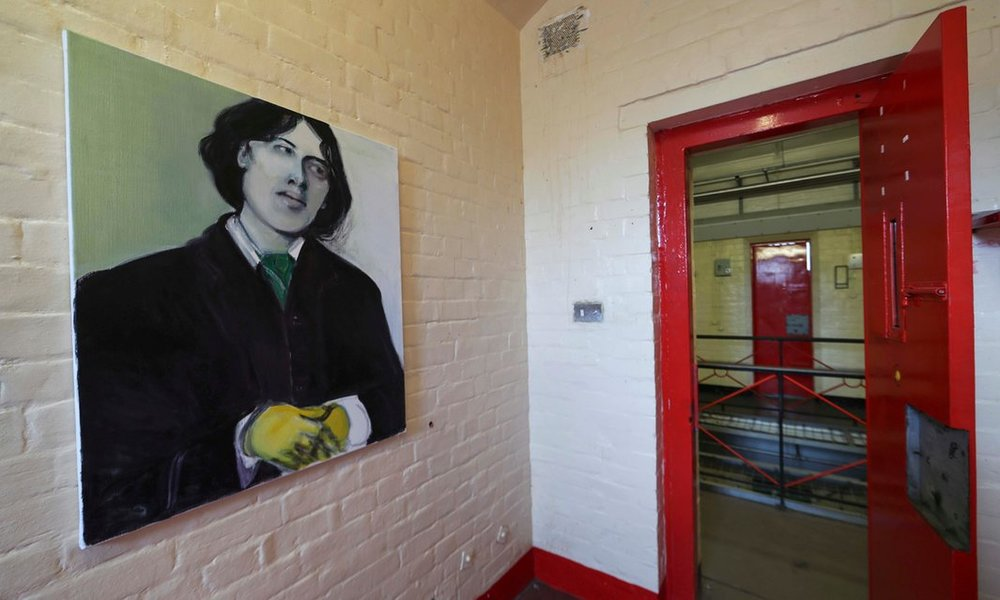 One of a Thousand Lifeless Numbers , 2012 by Marlene Dumas. A portrait of Oscar Wilde at the HM Prison Reading exhibition. Photo by Eddie Keogh at  Reuters .