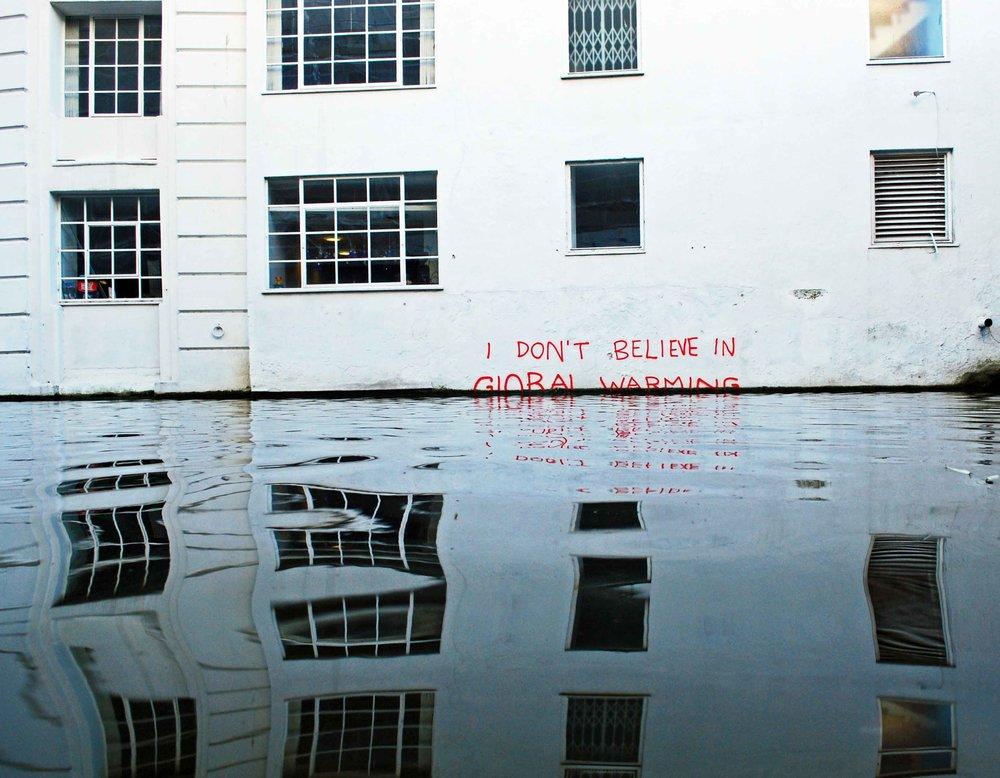 I Don't Believe in Global Warming , 2009 in Camden, London by  Banksy.