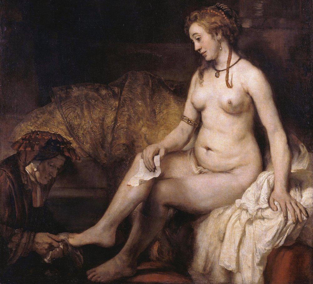 Bathsheba at Her Bath , 1654 by Rembrandt van Rijn.