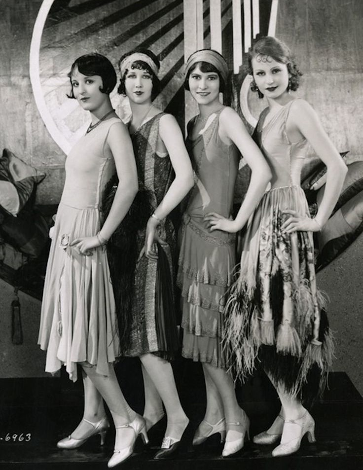 Chorus Girls wearing costume dresses by Clement Andre-Ani on the set of  Becky , 1927, directed by John P. McCarthy.