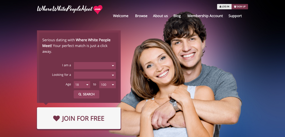 Dating website ' WhereWhitePeopleMeet.com '