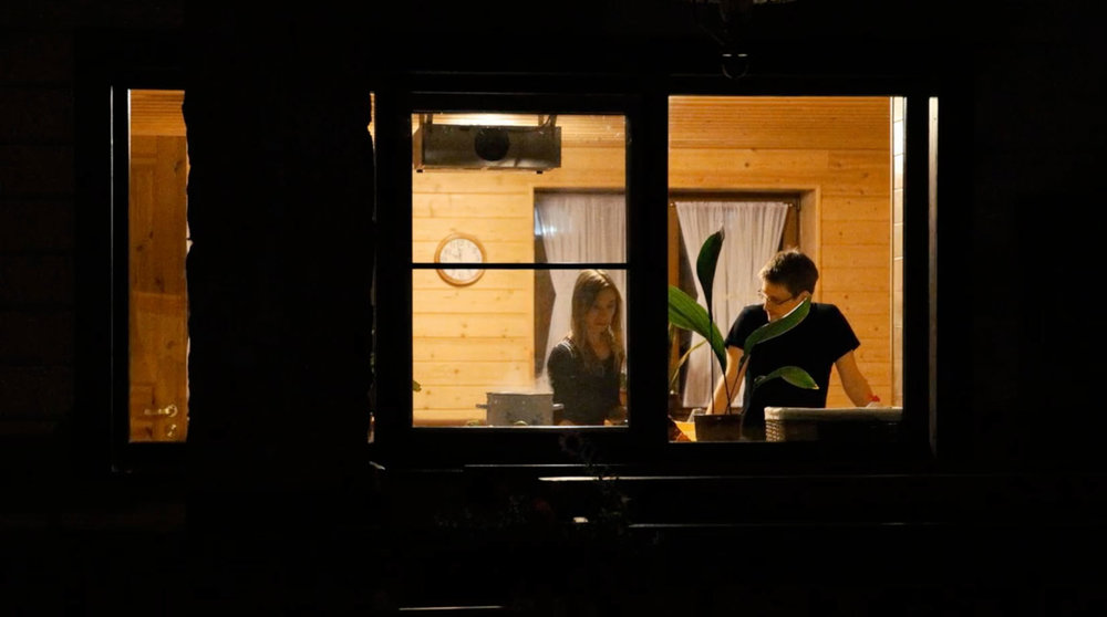 A still from Citizenfour, 2014, showing Edward Snowden and his girlfriend, Lindsay Mills, in Russia.