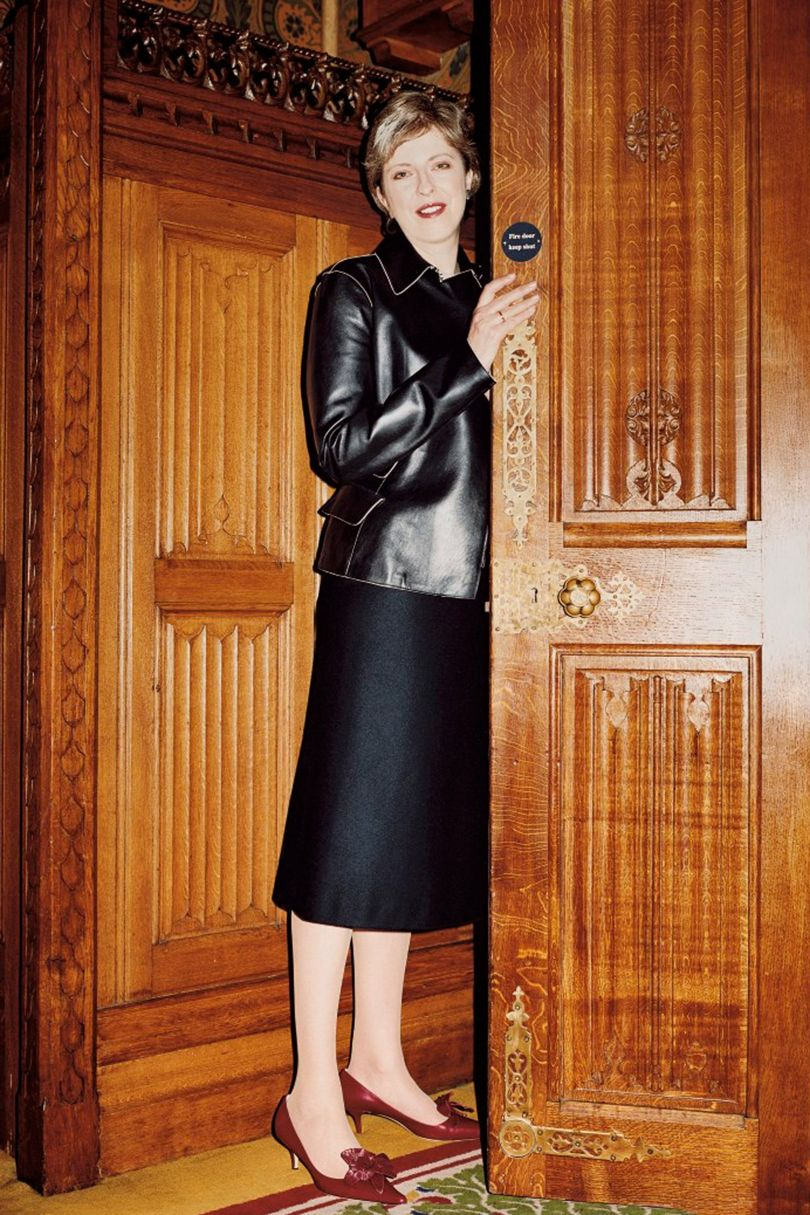 Theresa May shot by  Frederike Helwig  for British  Vogue 's March issue, 2003.