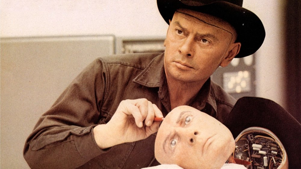 Yul Brynner as  The Gunslinger  in the film  Westworld , 1973, directed by Michael Crichton.