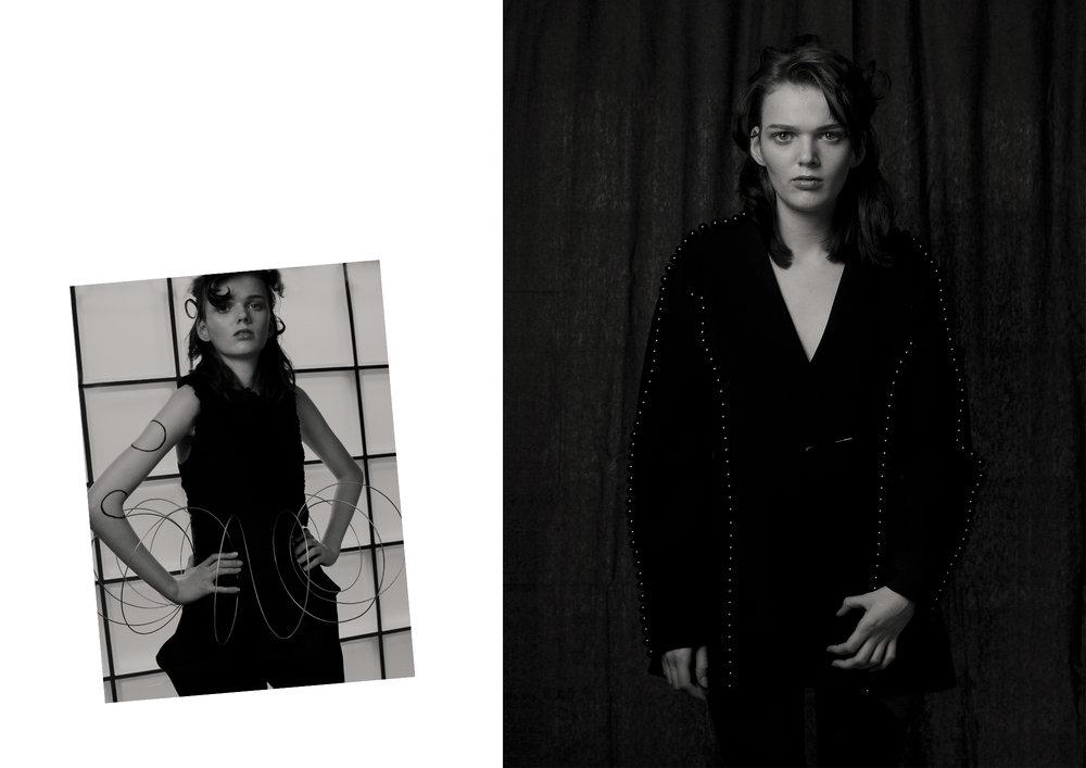 Left: Trousers by   Yeojin Kim   and Top by   Yulia Kondranina . Right:  Jacket by   Yulia Kondranina .