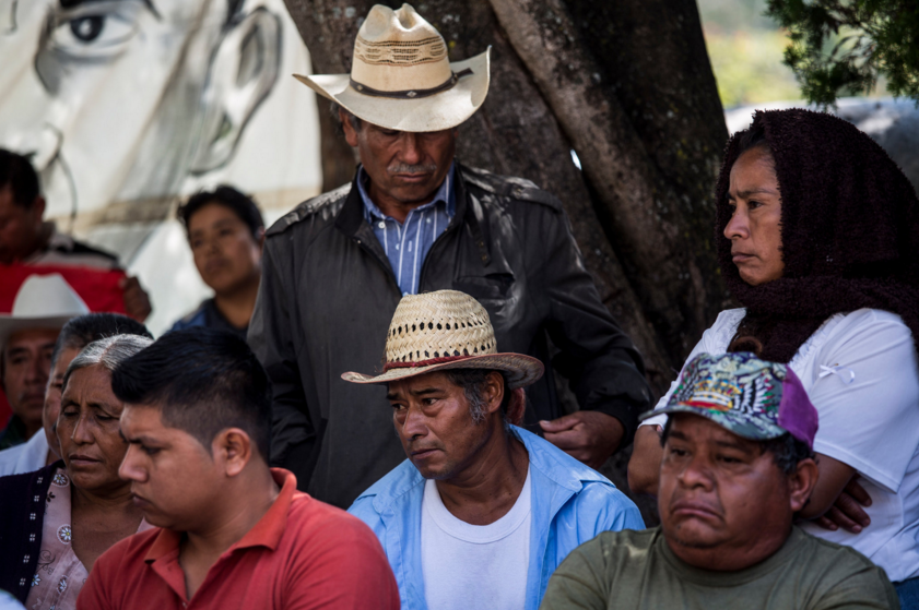 Parents of the missing students meeting at the teachers' college in Ayotzinapa that their children attended. Photo by Adriana Zehbrauskas for  The New York Times .