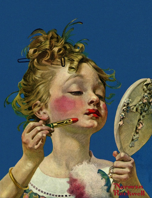 Little Girl with Lipstick,  1922 by Norman Rockwell.