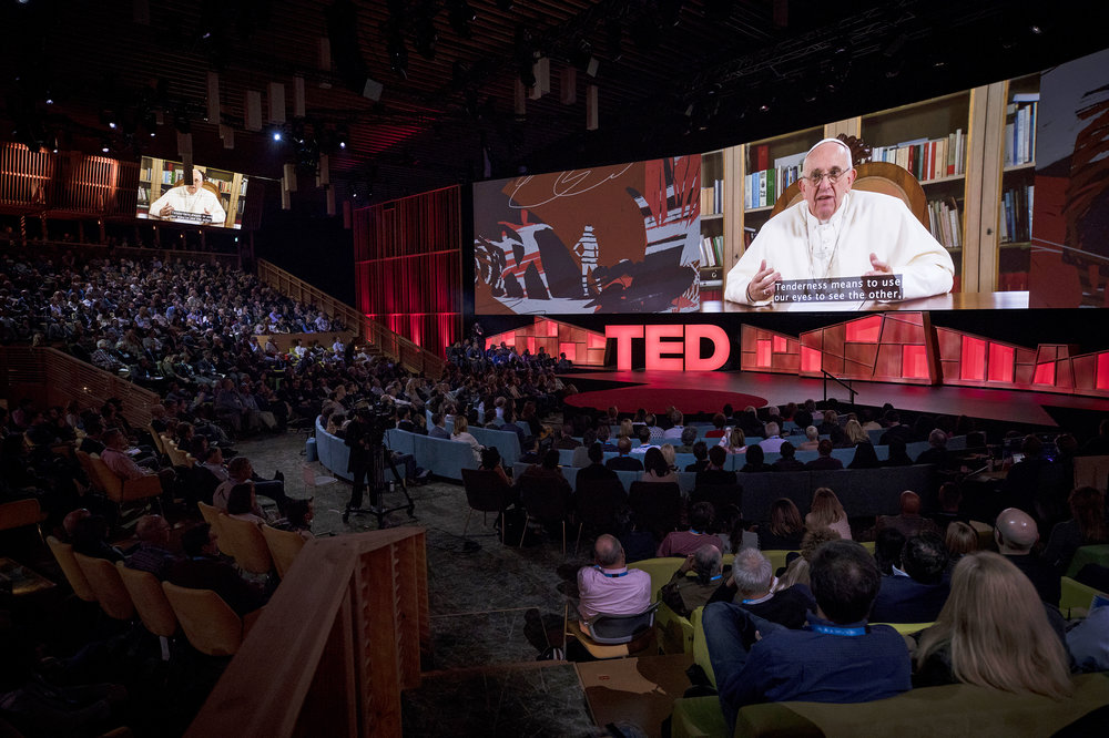 Pope Francis speaking in a pre-recorded video at the TED Talks conference in Vancouver, April 2017. Photo by Ryan Lash.