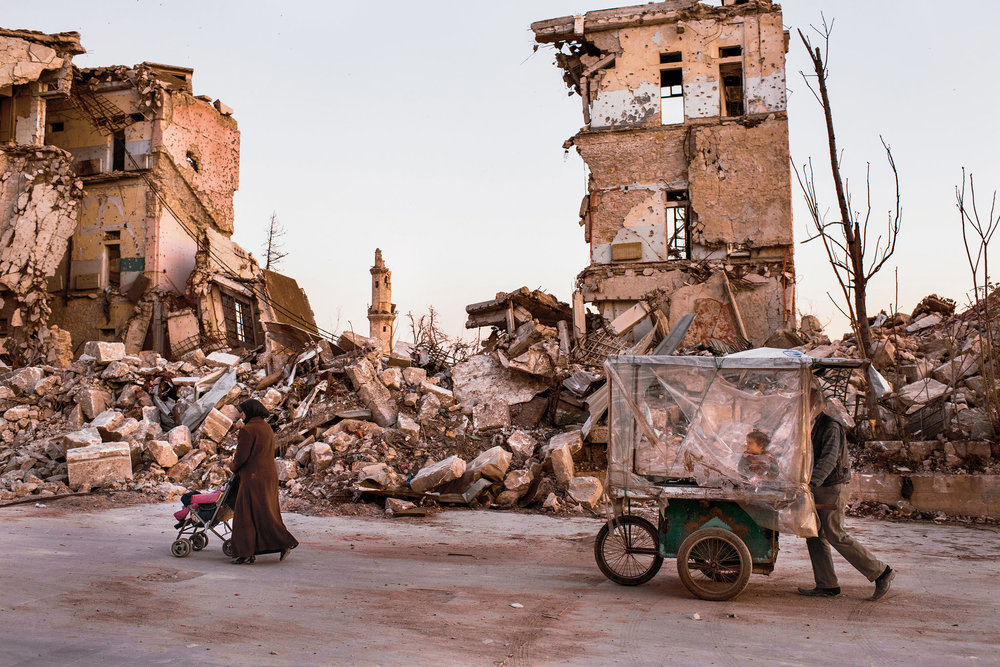 Ruins near the citadel in Aleppo.. Photo by Sebastián Liste for The New York Times.