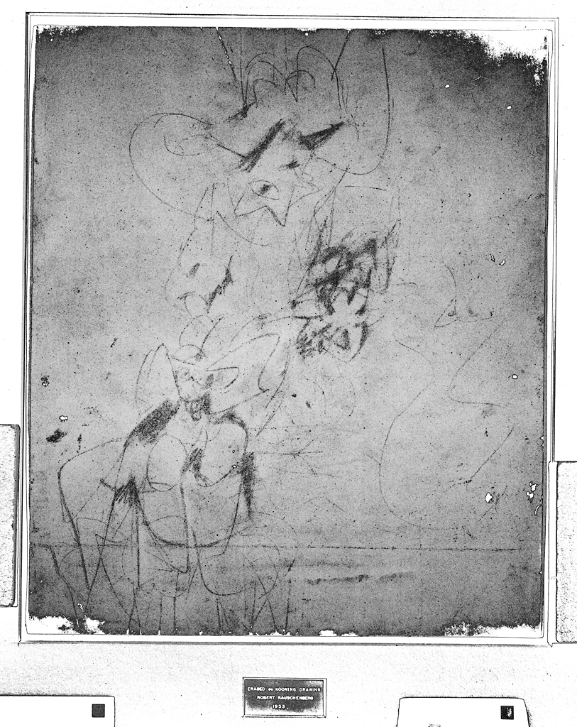 Digitally enhanced infrared scan of Robert Rauschenberg's  Erased de Kooning Drawing,  1953, showing traces of the original drawing by Willem de Kooning.
