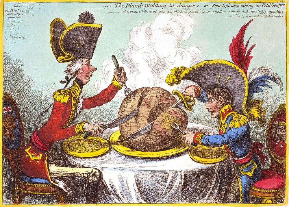 The Plumb-pudding in Danger, 1805 by James Gillray.