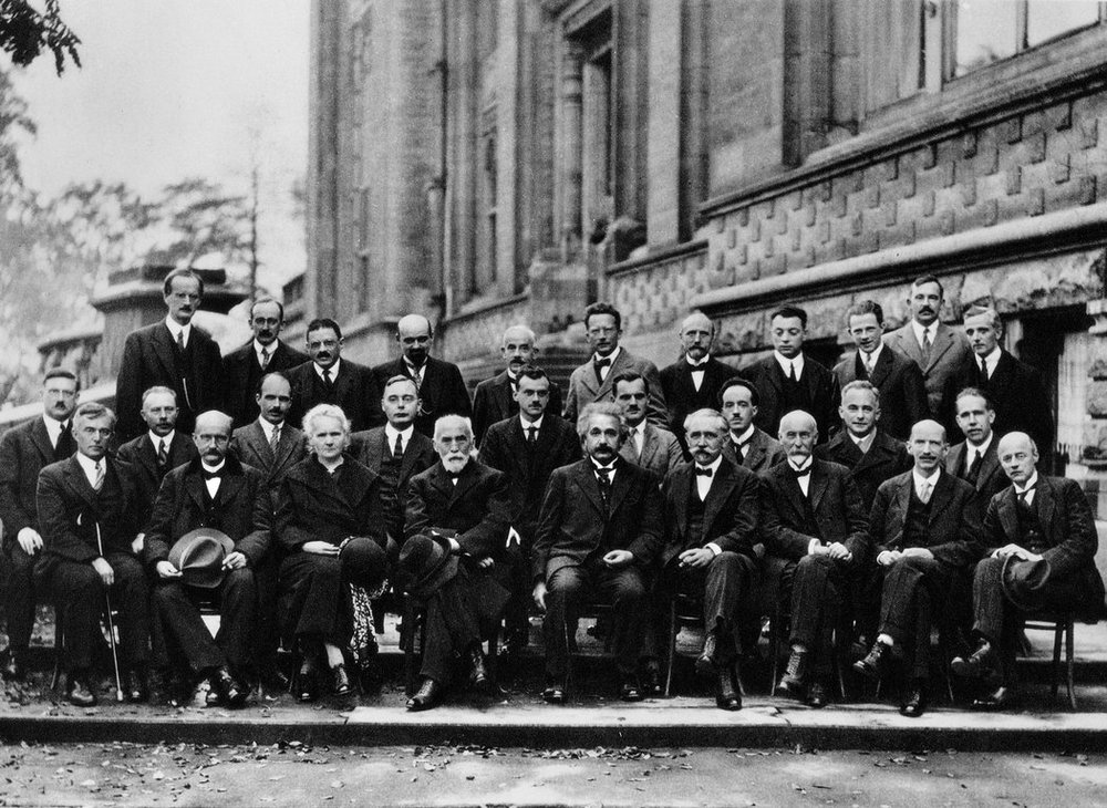 At the Solvay Conference on Physics in 1927, the only woman in attendance was Marie Curie (bottom row, third from left). Photo source: Getty Images.