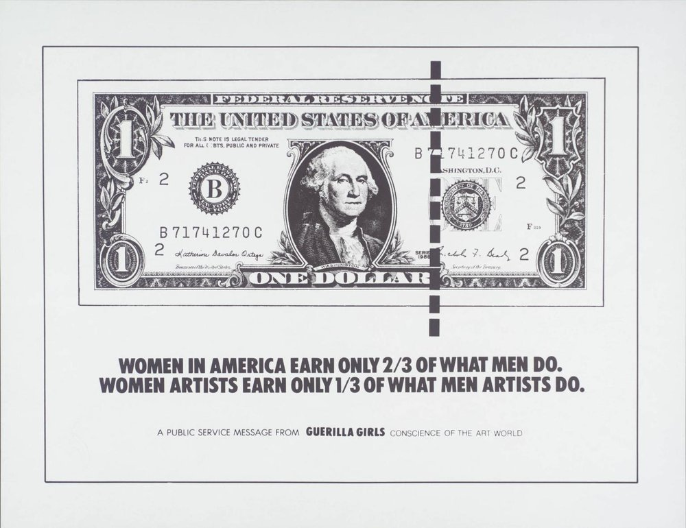 Women In America Earn Only 2/3 Of What Men Do , 1985 by Guerrilla Girls .