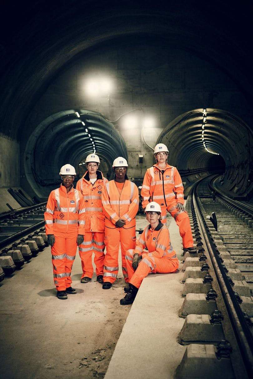 Women working on London's Crossrail project. From left to right: talent and resources director Valerie Todd, sponsorship head Sarah Johnson, trainee quantity surveyor Fatima Alghali, global transport guru Isabel Dedring (seated), and civil engineer Linda Miller. Photo source: Jason Bell for  British Vogue , 2016.