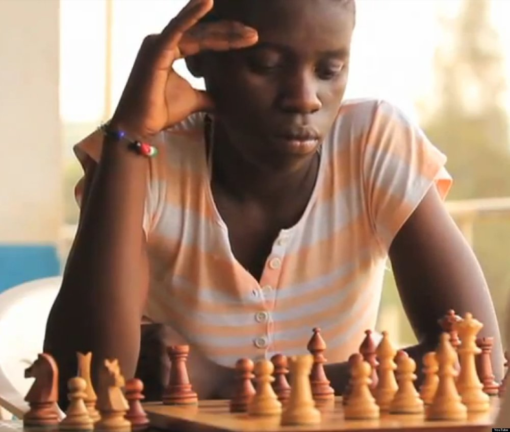Three-time champion chess player Phiona Mutesi from Ugandan's slum Katwe.