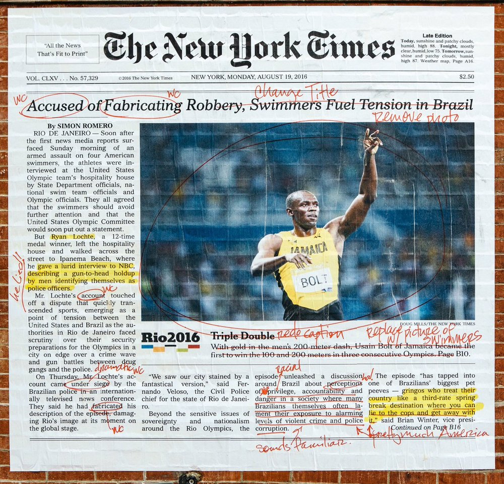 Annotations over  The New York Times ' report on Ryan Lochte Rio Olympic scandal. Photo by Alexandra Bell.
