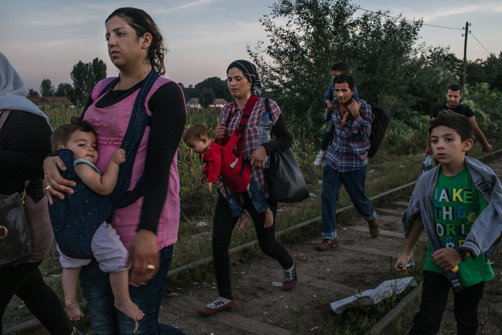 Syrian refugees make their way along railroad tracks toward the Hungarian border near Horgos, Serbia. Mauricio Lima for  The New York Time .