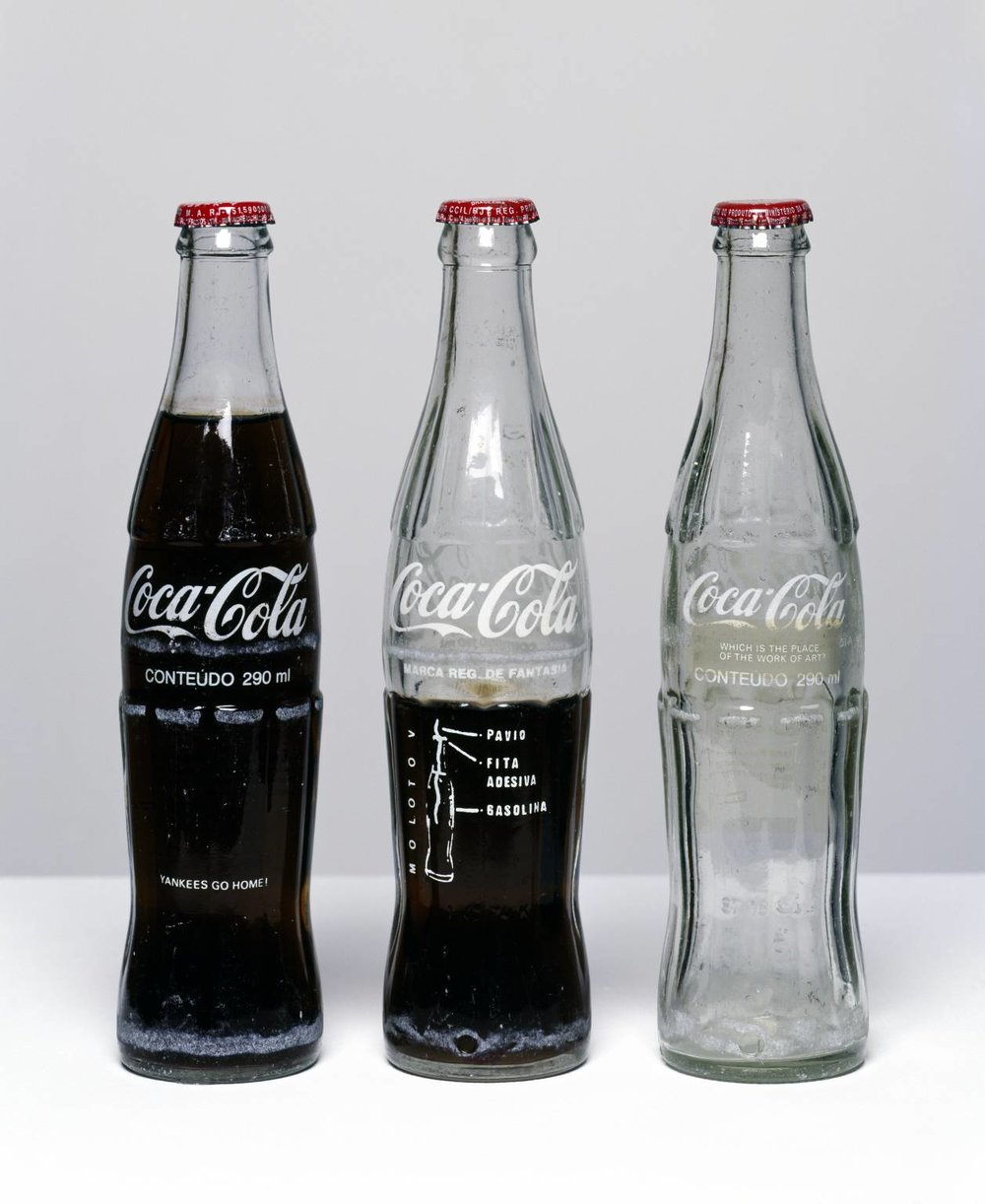 Insertions into Ideological Circuits :  Coca-Cola Project,  1970 by Cildo Meireles.