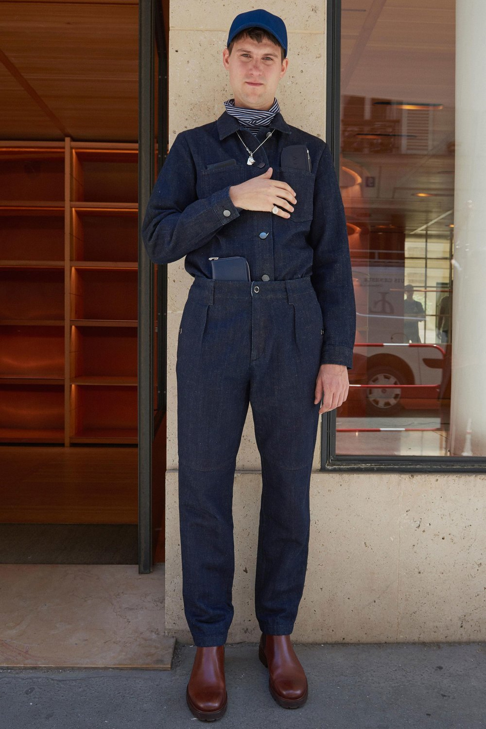 A look from A.P.C. SS18 menswear collection. Photo source:  Vogue  Runway.
