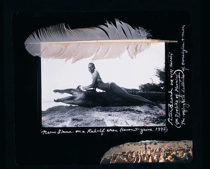 Naomi Simms on a Rudolf Croc , 1972 by Peter Beard.