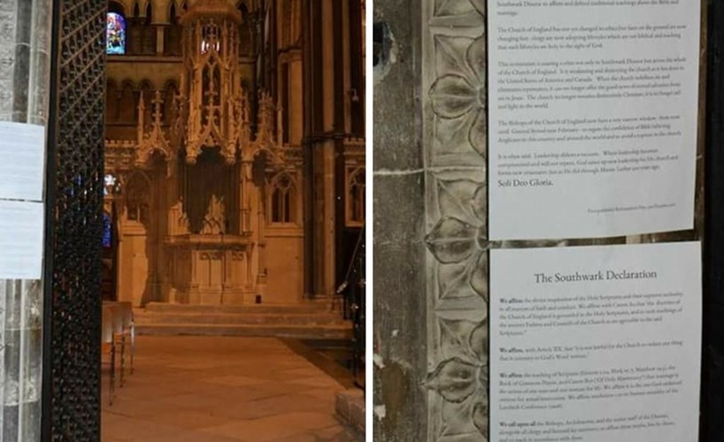 A priests pinnned declaration to cathedral doors in protest against 'corrupt' church,a campaign targeting cathedrals around the UK by a group of priests in protest at what they see as the Church of England's increasingly liberal approach to same-sex relationships. Photo source: christiantoday.com
