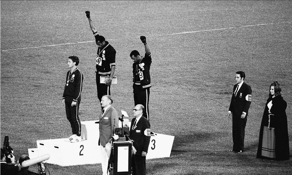 Tommie Smith and John Carlos, Mexico Games, 1968. Photo source:  The Red List .