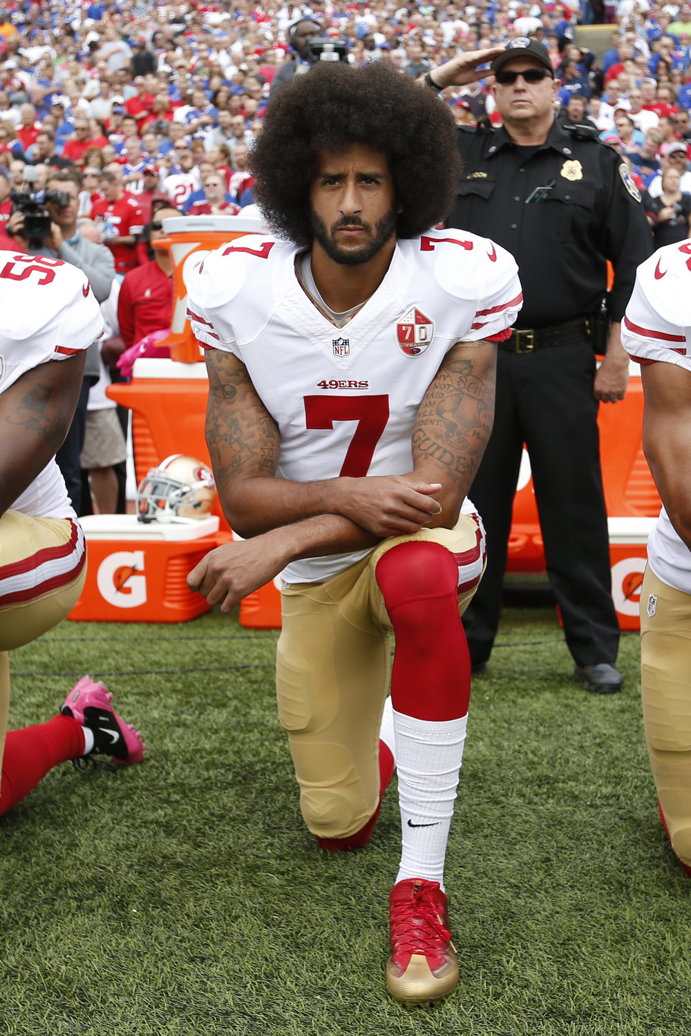 Colin Kaepernick knelt during the anthem before a game in October 2016. Photo Credit: John G Mabanglo/European Press Photo Agency.