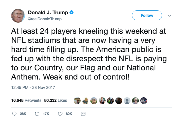 President Donald Trump response to the players kneeling.