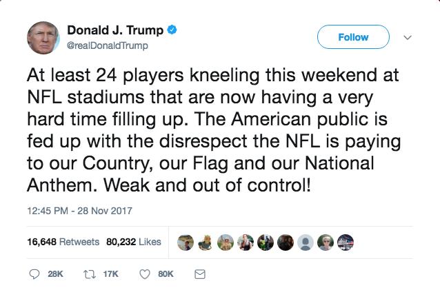 President Donald Trump response to the players kneeling.