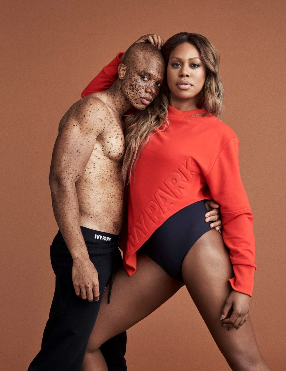 Model Ralph Souffrant and actress Laverne Cox in Ivy Park AW17 campaign.