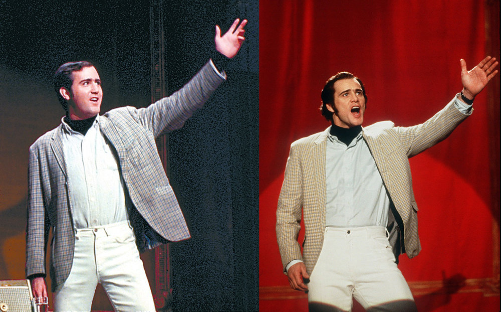 Left: Andy Kaufman on stage for his comedy set. Right: Jim Carrey as Andy Kaufman in a scenes from Man on the Moon, 1999). Photo source: The Hollywood Reporter.