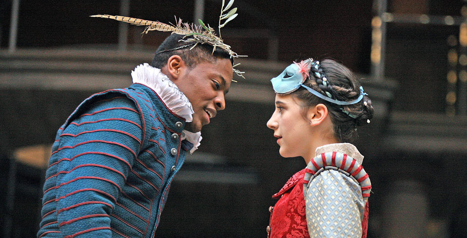 Adetomiwa Edun and Ellie Kendrick as 'Romeo and Juliet' at the Globe, directed by Dominic Dromgoole, 2009.