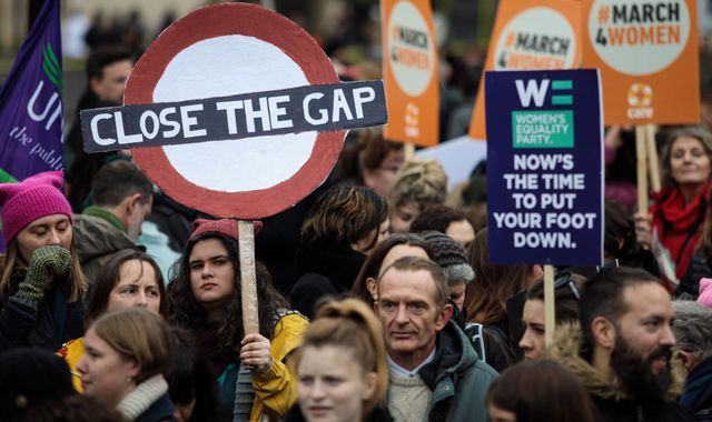 Protesters taking part in the March 4th 2018, during women's rights protest in London. Image Source: Press Associate.
