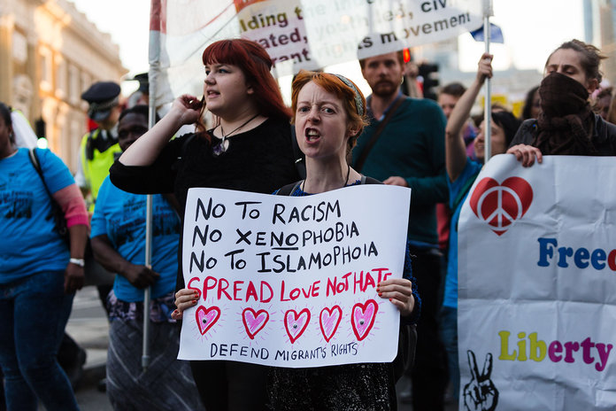 Anti-racism protest after the Brexit referendum vote in London. Photo source:  InStyle.