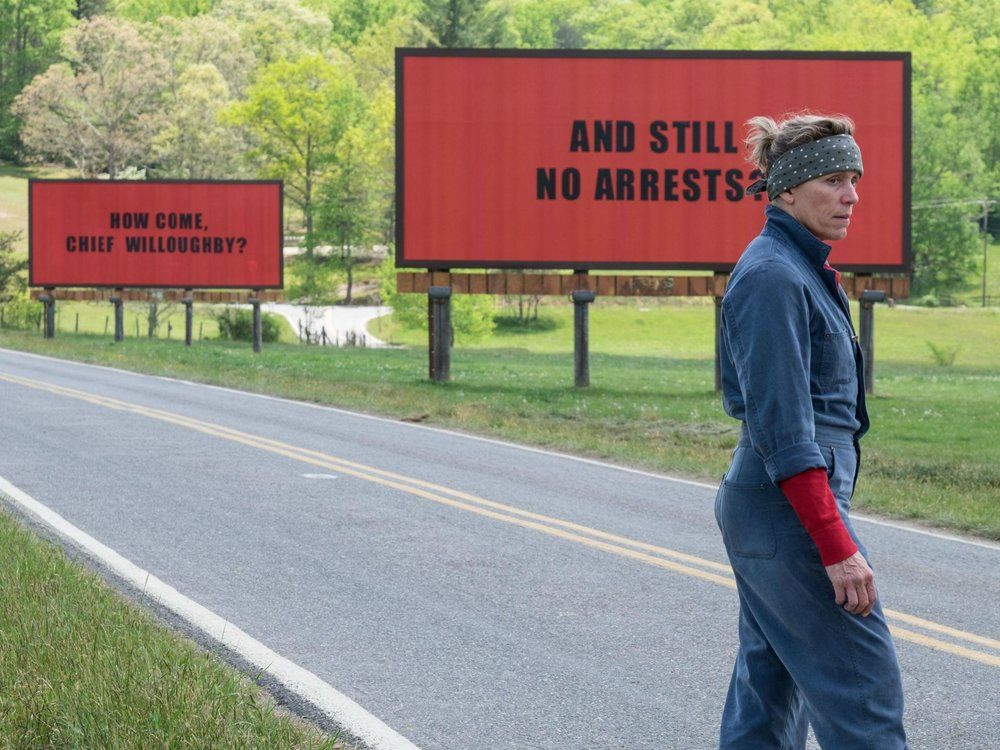 Still from  Three Billboards Outside Ebbing Missouri,  2017, directed by Martin McDonagh.
