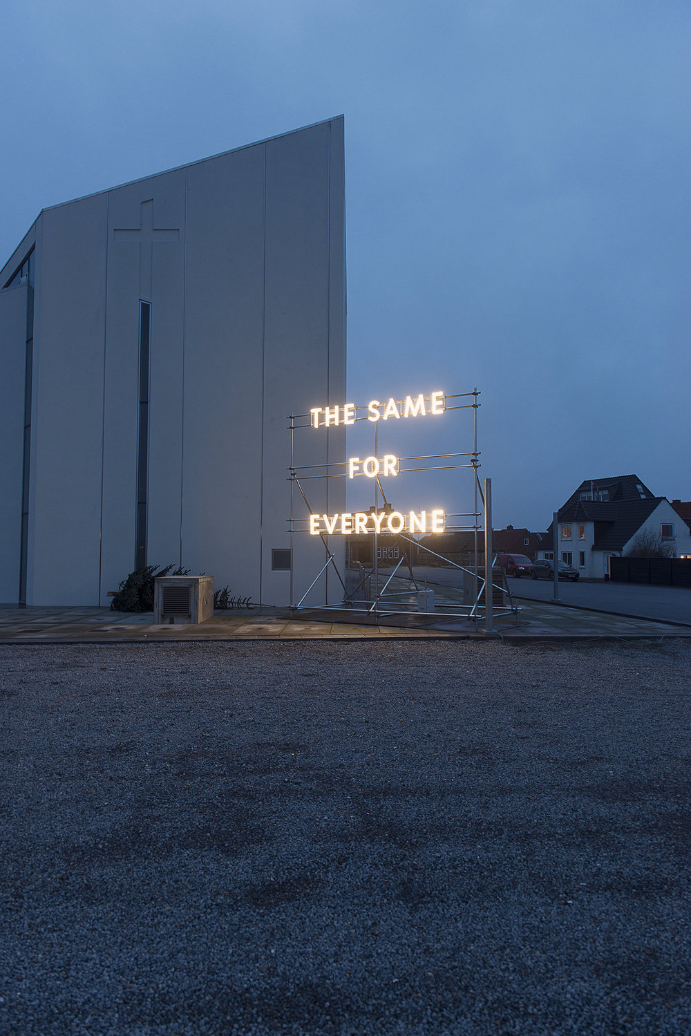 The Same for Everyone,  2017, Thyborøn Kirke, Vesterhavsgade by Nathan Coley.
