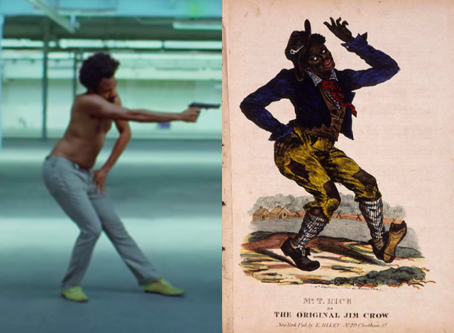 "Childish Gambino's striking a pose that references the cover of the ""Jump Jim Crow"" sheet music, picturing Thomas D. Rice in blackface."