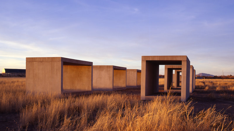 Installation view: Part of the 15 untitled works in concrete, 1980-1984, Marfa, Texas by Donald Judd.