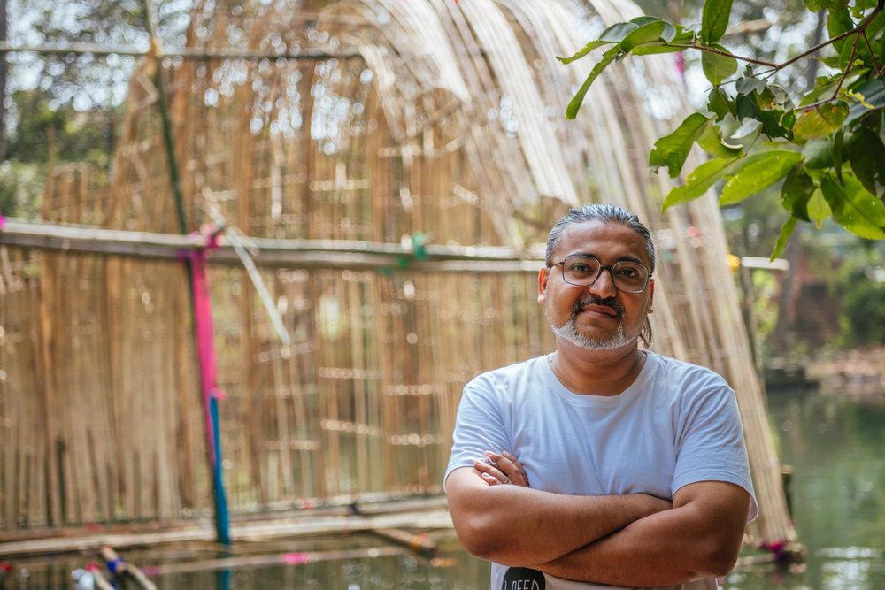 Duck above, fish below  by Sayantan Maitra, Bamboo, 2018,   Photo by Sabyasachi Jana.
