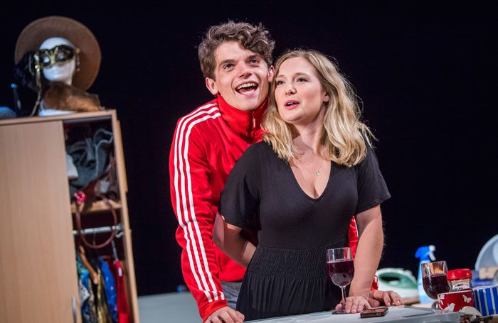 Edward Bluemel as Paddy and Amy Morgan as Dee in  Touch  at Soho Theatre. Photo by Tristram Kenton.